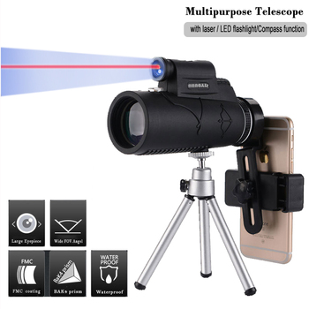 Multipurpose Monocular BAK4 Prism HD 12X50 Zoom Waterproof Optical Telescope Outdoor Camping Flashlight Monocular/Binoculars svbony sv14 spotting scope 20 60x60 25 75x70mm bak4 zoom 45 de nitrogen birdwatch monocular telescope f9310