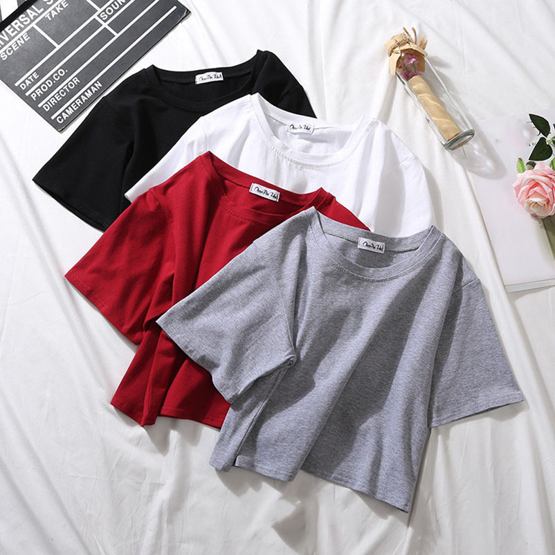 Cotton High Waist Solid Color Women T <font><b>Shirt</b></font> Summer Korean Casual O Neck Tees Top <font><b>Wine</b></font> <font><b>Red</b></font> All Match Top Streetwear Female Tshirt image