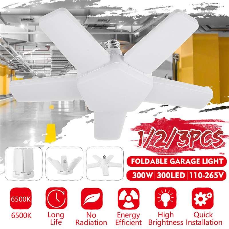 100W Garage Lamp Deform Light Foldable Fan Blade LED Pendant Light E27 Bulb 360 Degrees Angle Adjustable Ceiling Lamp AC110-265V