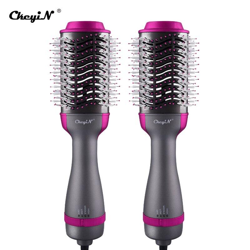 CkeyiN 1000W Professional Volumizer Salon Hot Air Paddle Styling Brush Hair Dryer Comb Tourmaline Ceramic Blow Dryer Hair Curler