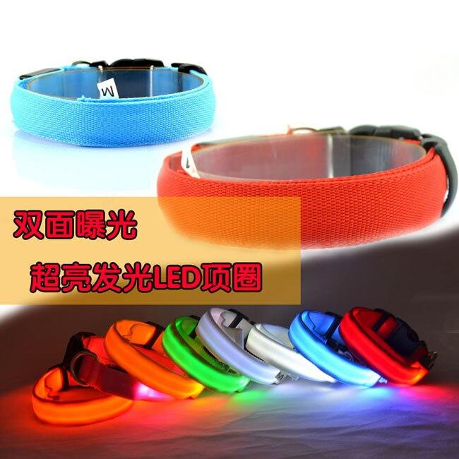 Two Light Dog Collar LED Night Light Collar Pet Supplies Dog Nylon Fluorescent Collar Night Light Dog Collar