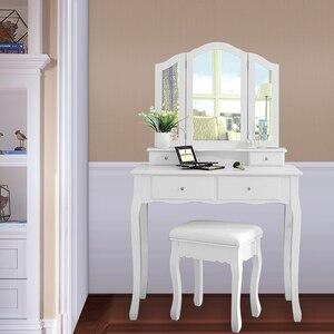 Image 3 - Nouveau 90x40x145cm commodes pour chambre maquillage vanité avec 3 miroirs 4 tiroirs tabouret chambre ensembles Dressing maquillage Table outils HWC