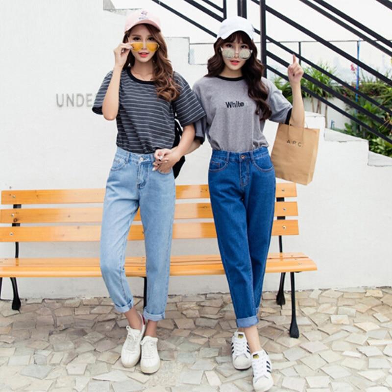 New Vintage Slim High Waist Pants Women's Jeans Women Nine-Length Loose Student Cowboy Pants Fashion Female  Denim Jeans