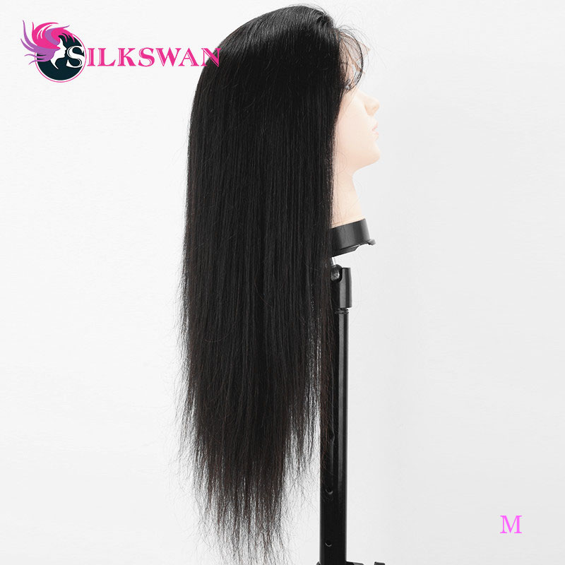 Silkswan Brazilian Straight 13x4 Lace Front Human Hair Wigs Remy Hair 10-24 Inch 150 Density Wigs With Pre Plucked Hairline