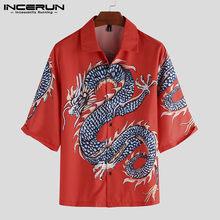Sommer Gedruckt Shirt Männer Halben Hülse Revers Lose Taste Casual Urlaub Damen Hawaiian Shirts Camisa Streetwear 2021 INCERUN