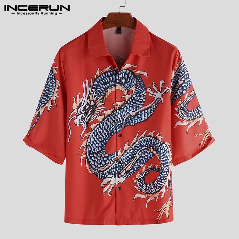 Summer Printed Shirt Men Half Sleeve Lapel Loose Button Casual Vacation Ladies Hawaiian Shirts Camisa Streetwear 2020 INCERUN