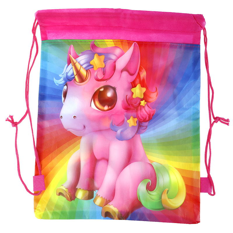 Unicorn Drawstring Bag For Girls Travel Storage Package Children Birthday Party Favors Candy Storage Cartoon School Backpacks