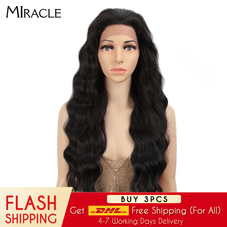 MIRACLE Long Ombre Wig Loose Deep Wave High Temperature Fiber 30 Inch 150% Density 4*4 Synthetic Lace Front Wigs For Black Women