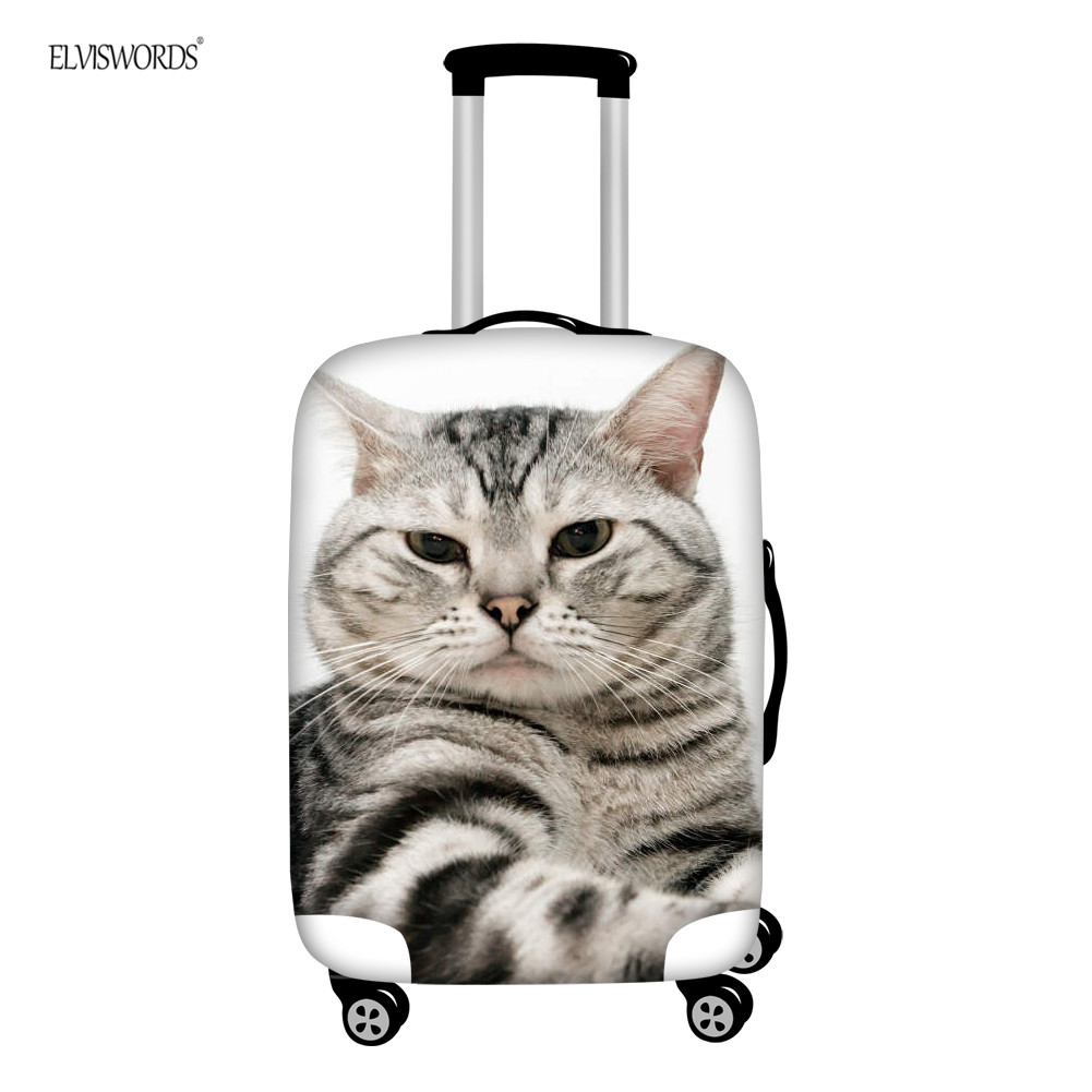 ELVISWORDS Travel Accessories Luggage Cover Stretch Thick Zipper Cute Cat Suitcase Protective Covers Apply To 18