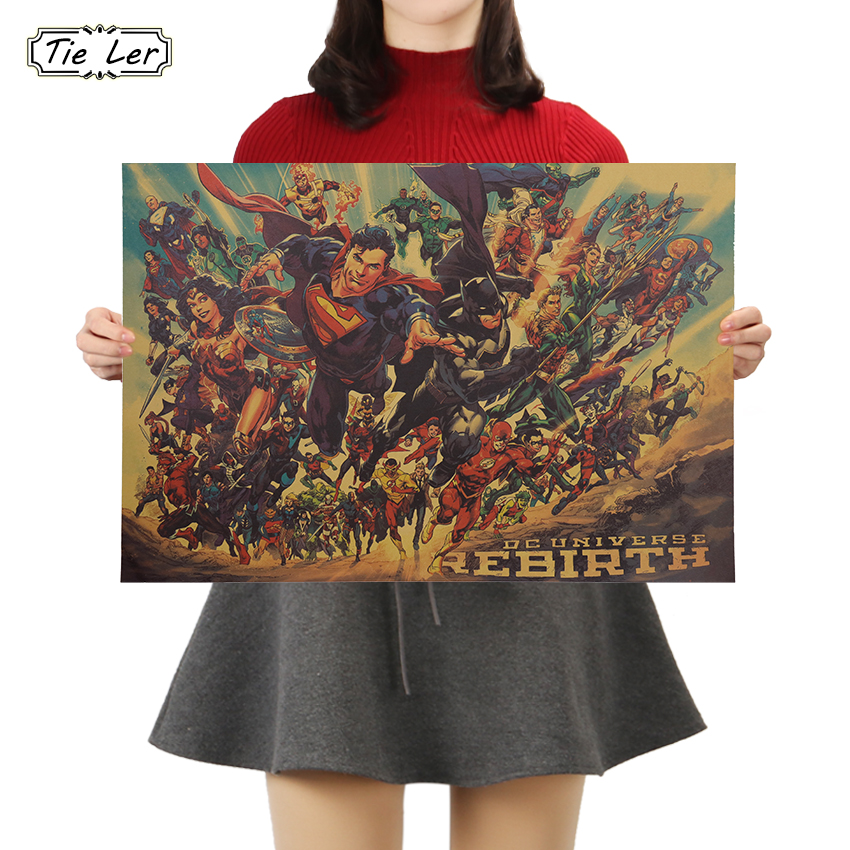 TIE LER Movie Justice League Poster Vintage Character Kraft Paper Poster Home Art Decoration Wall Stickers 50.5x35cm