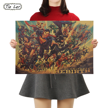 TIE LER Movie Justice League Poster Vintage Character Kraft Paper Poster Home Art Decoration Wall Stickers 50.5x35cm image