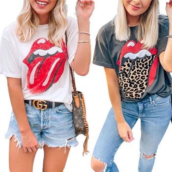 Women Leopard Lip Printed T-Shirt Tops Ladies Summer Short Sleeve O-Neck Tee Casual T Shirts Women's Tops 2019 summer casual short sleeve t shirt korean women solid color o neck t shirts female oversize loose tshirt women tee tops