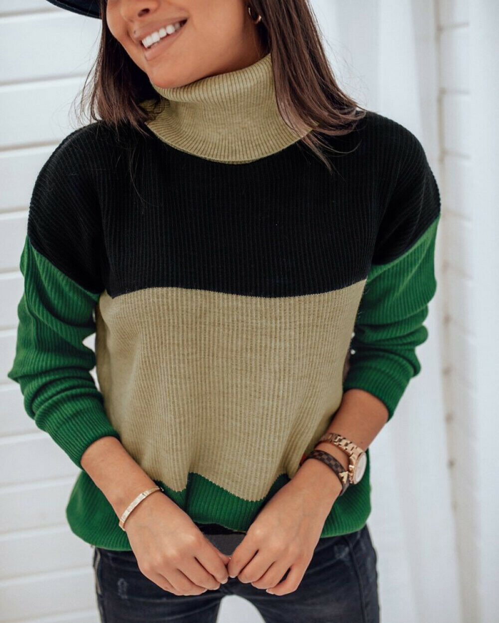 Women's Sweaters Turtlenck Long Sleeve dark green splice Knitted Jumper Knitwear Winter Outwear Tops jersey mujer