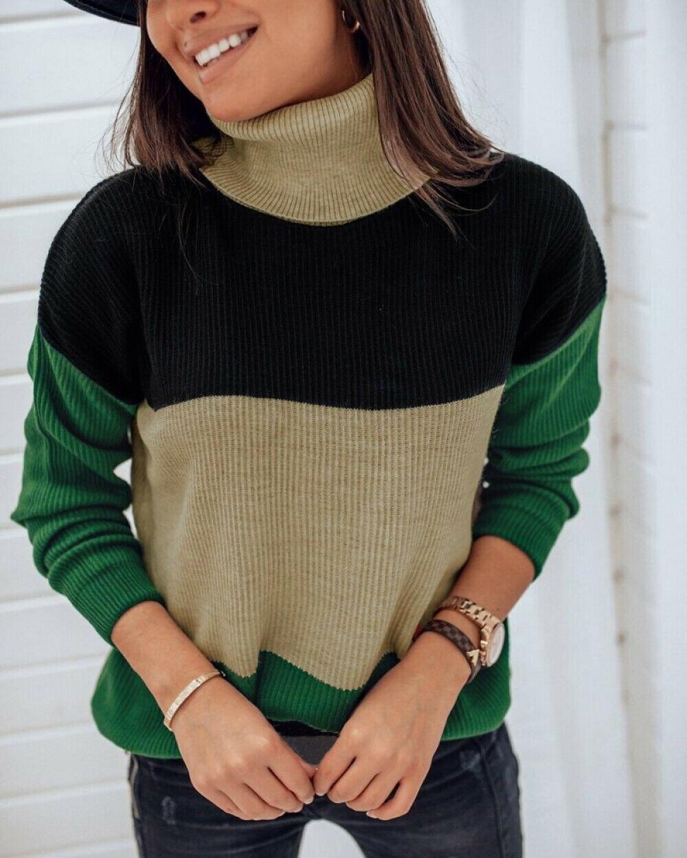 Women's Sweaters Turtlenck  Long Sleeve Dark Green Splice Knitted Jumper  Knitwear Winter Outwear Tops Jersey Mujer