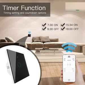 Image 5 - Wifi + rf433mhz vida inteligente interruptor de luz inteligente tuya trabalho controle remoto sem fio com alexa eco google casa preto 1/2/3 gang