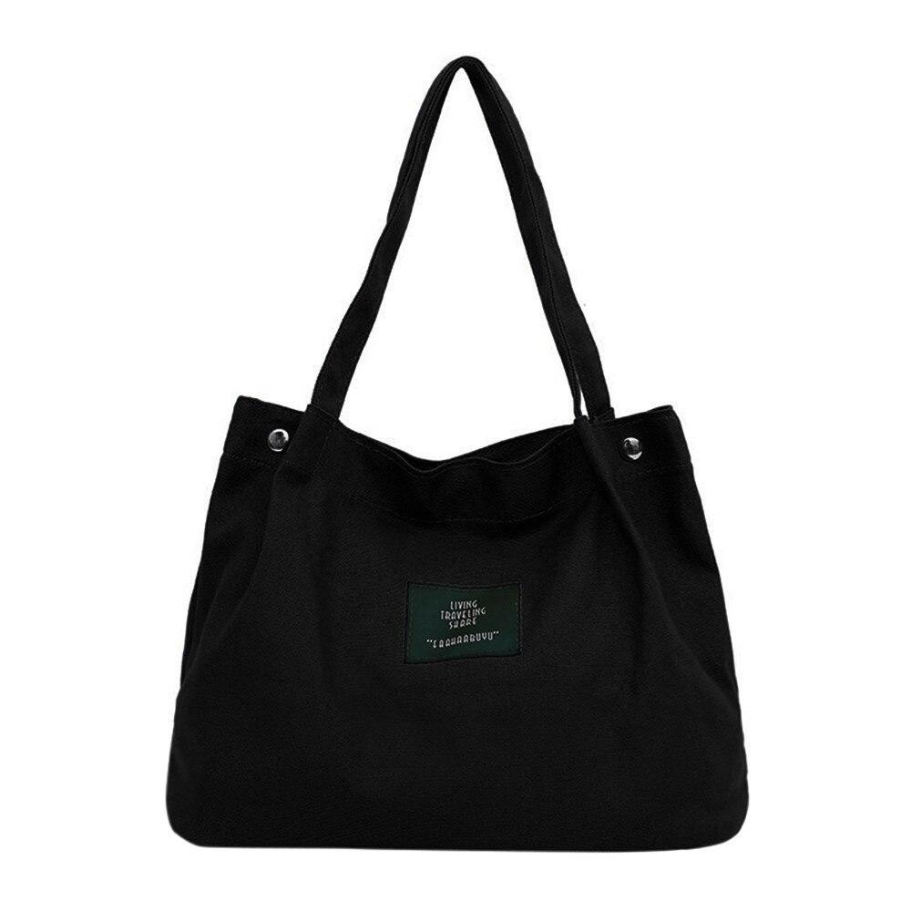 Reusable Shopping Bag Girls Women Retro Female Simple Letter Canvas Bag Shoulder Tote Bags Large Capacity Foldable Bags #57