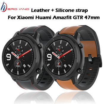 20 22mm Watch Strap For Huami Amazfit GTR 47mm 42mm Genuine Leather Band Silicone Bracelet Watchbands Amazfit Sport Stratos 2 3 watchbands 22mm sport silicone strap band for samsung gear s3 classic frontier replacement band for huami amazfit stratos 2 2s