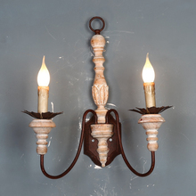 Lámparas de pared de madera Vintage, apliques de pared rústicos de campo francés, lámparas de pared retro antiguas para dormitorio, cabecera, pasillo de granja