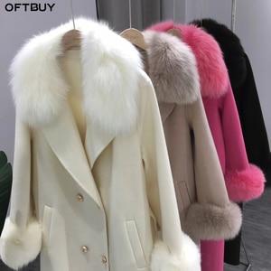 Image 4 - OFTBUY 2020 Real Fur Coat Winter Jacket Women Natural Fox Fur Collar Cashmere Wool Blends Long Outerwear Ladies Streetwear