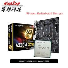 Amd Ryzen 3 3100 R3 3100 Cpu + Gigabyte Ga A320M S2H Moederbord Pak Socket AM4 Cpu + Motherbaord Pak zonder Koeler