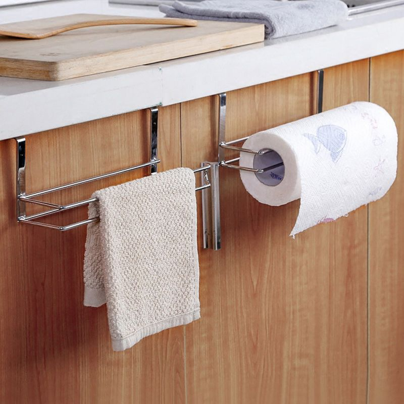 Kitchen Cabinet Door Hanging Rack Paper Towel Holder Multi-function Metal Storage Free Punching Rack Bathroom Accessories