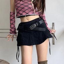 Mini jupe-pantalon en Denim pour filles, Harajuku, taille basse, couleur unie, noir, Punk, tête de mort
