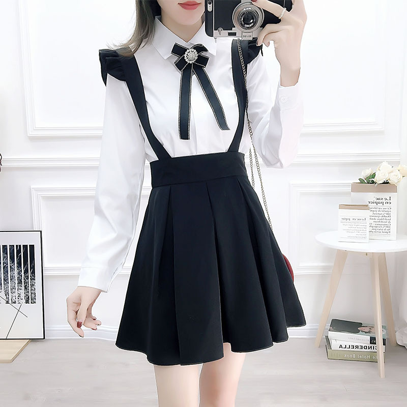 2020 Spring New Style College Style Bow Decoration Shirt Pleated Suspender Skirt Two-Piece Set Students GIRL'S Spring