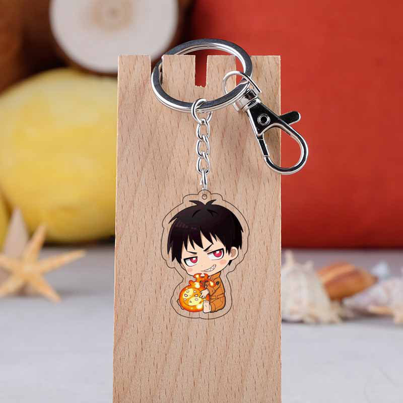 Anime Fire Force Streaming Keychain Cartoon Figure Acrytlic Pendent Keyring