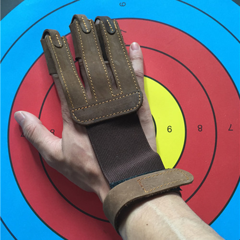 1Pcs Cow Leather Archery Glove Outdoor Hunting 3 Three Finger Protector Guard Shooting Finger Hand Protector Bow Accessories