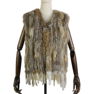 Image 3 - Harppihop*Knit knitted handmade Rabbit fur vest gilet sleeveless garment waistcoat