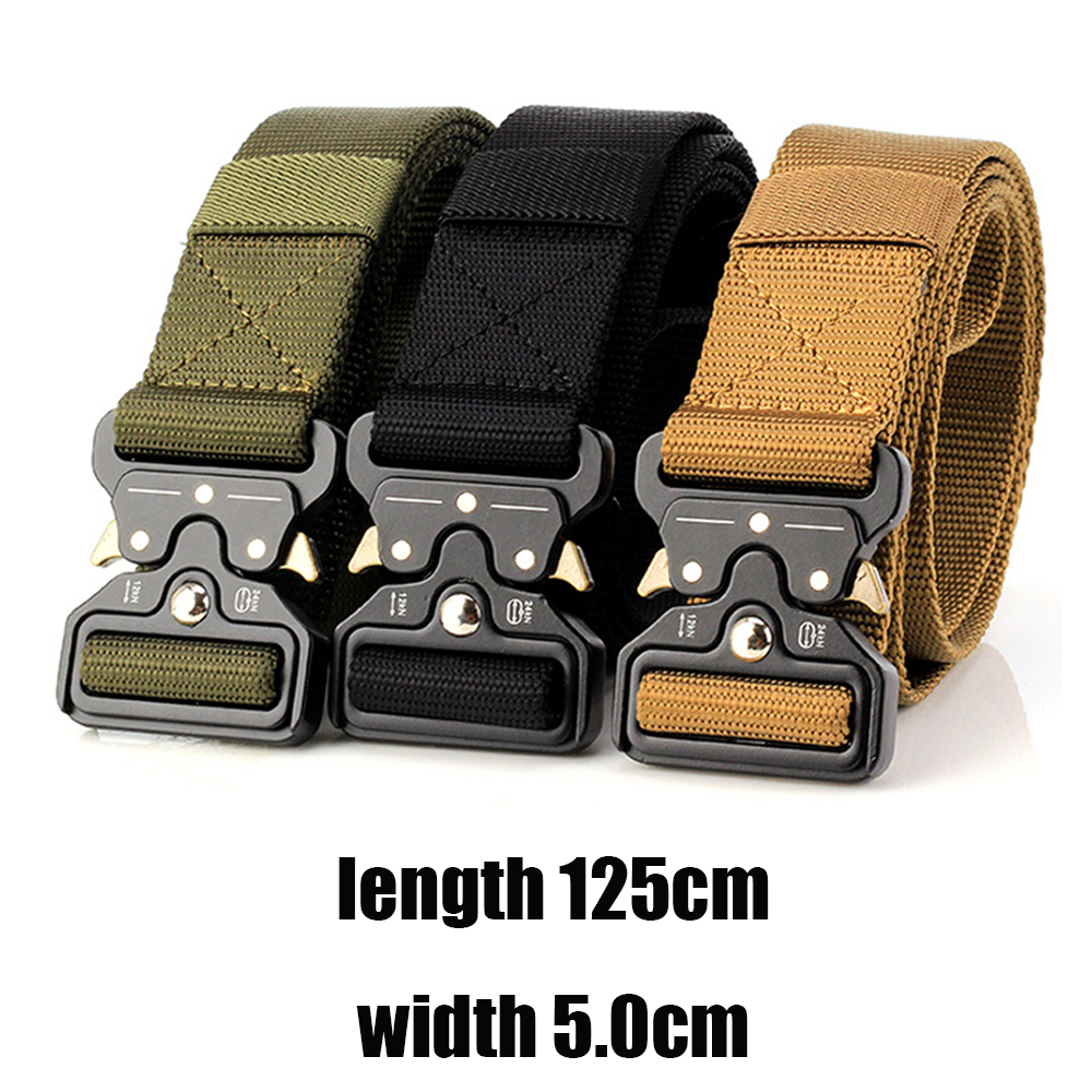 Military Equipment Combat Tactical Belts for Men Army Training Nylon Metal Buckle Waist Belt Outdoor Hunting Waistband 5cm D35
