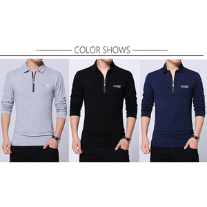 Image 3 - BROWON Herbst Marke T Shirt Männer Lange Sleeve Zipper Kragen Print Lässige T shirt Baumwolle Slim Fit T shirt Plus Größe Männer kleidung