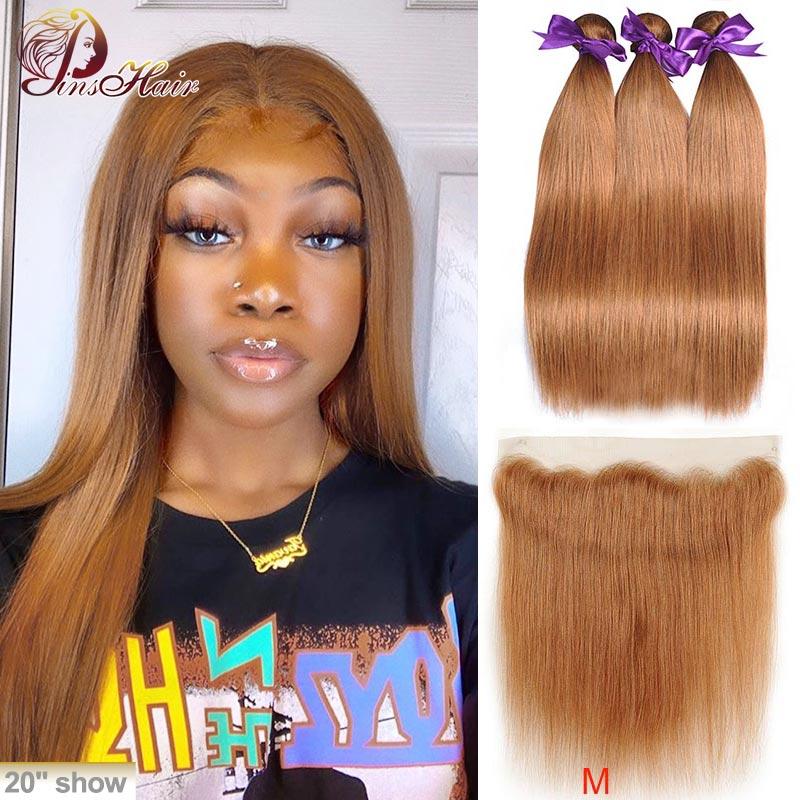 Brazilian #30 Lace Front Bundles With Closure Pinshair Honey Blonde Human Hair Bundles With Closure Straight Hair Bundles Remy