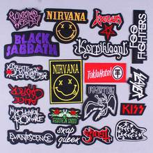 DIY Nirvana Rock Band Patch Embroidered Patches For Clothing Hippie Stickers Metal Bands Punk Stripes On Clothes