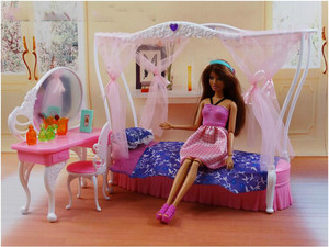 Image 2 - genuine for princess barbie beds Kurhn dolls accessories 1/6 bjd doll bed table bedroom furniture dream house set child toy gift