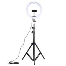 Dimmbare LED Selfie Ring Licht USB ring lampe Fotografie Licht mit 1,6 m stativ Für Make Up Youtube Video Telefon studio lampe