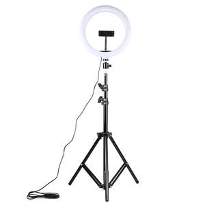 Image 1 - 調光対応 led selfie リングライト usb ランプ写真撮影の光と 1.6 メートル三脚用スタンドメイク youtube のビデオ電話スタジオランプ
