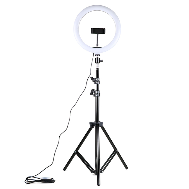 調光対応 led selfie リングライト usb ランプ写真撮影の光と 1.6 メートル三脚用スタンドメイク youtube のビデオ電話スタジオランプ