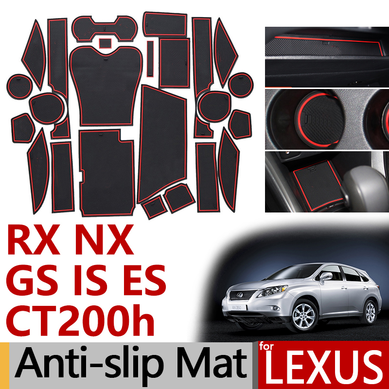 Anti-Slip Rubber Gate Slot Cup Mat for <font><b>Lexus</b></font> RX NX GS IS ES CT200h <font><b>RX350</b></font> RX450h IS250 ES350 ES300h GS350 <font><b>Accessories</b></font> <font><b>2018</b></font> 2019 image