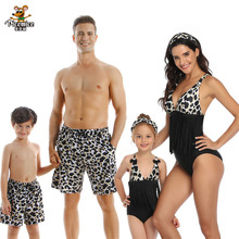 Mother And Daughter Swimsuit Tassel Leopard Mom Daughter Swimwear Family Look Mommy And Me Bikini Dad Son Matching Beach Shorts leopard swimsuits family matching swimwear mother daughter bikini dad son swim trunks mommy and me family outfits look e0200