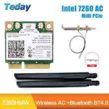 1200mbps sem fio intel 7260 ac wifi cartão 7260hmw metade mini pci-e 2.4g/5ghz bluetooth 4.0 adaptador 802.11ac antenas ipex mini pc