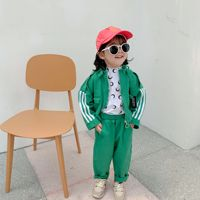 2PCS WLG boys girls clothing set kids autumn red green striped jacket and pant set baby fashion all match outfit