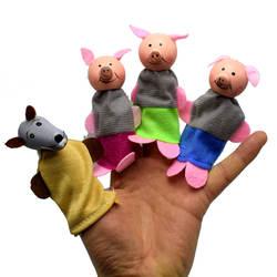 Горячая продажа Новый стиль Три поросенка и волк деревянное животное кукла на палец напальчник игрушка Сказочный реквизит AliExpress
