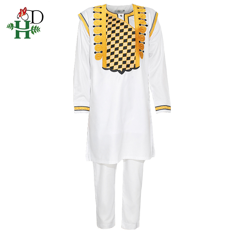 H&D African Men Agbada Clothes Cover Shirt Pants Suit Embroidered Dashiki Robe Africaine Formal Attire Long Sleeve Tops Trousers