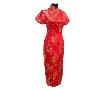 Image 5 - Short Sleeve Qipao Long Dresses Sexy dress Black Dragon&phoenix Chinese Traditional Gown Women Satin Cheongsam Qipao Big Size