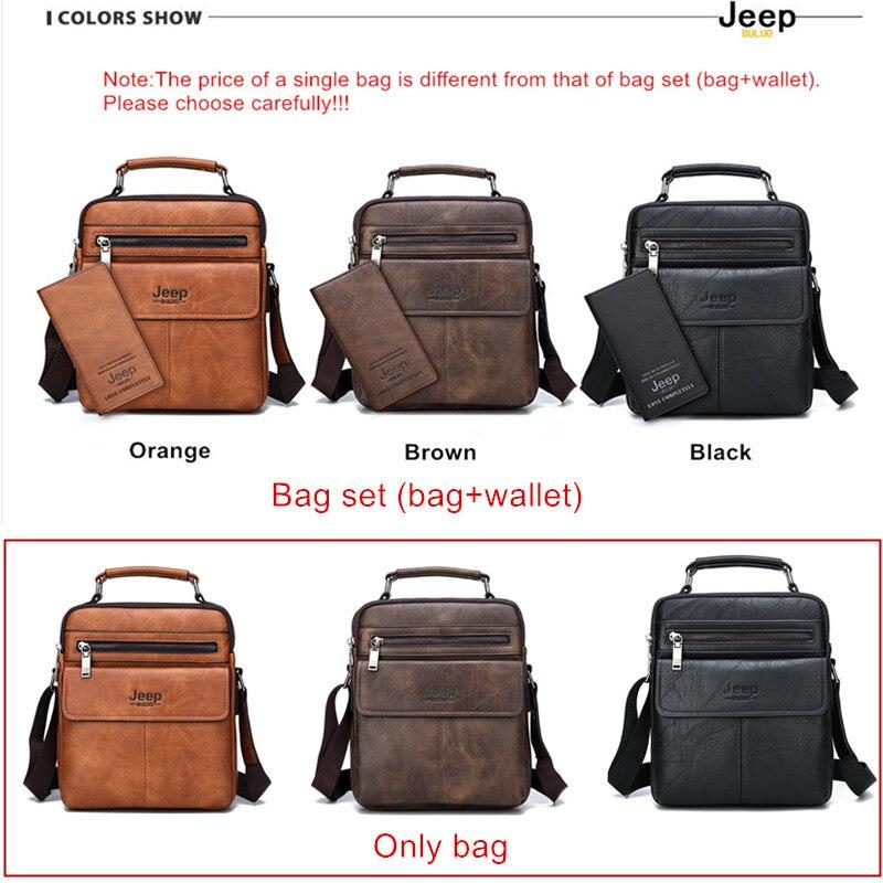Image 3 - JEEP BULUO Mens Crossbody Shoulder Bags Big Size Split Leather  Handbag Fashion Business Man Messenger Bag High quality Tote Hot  -