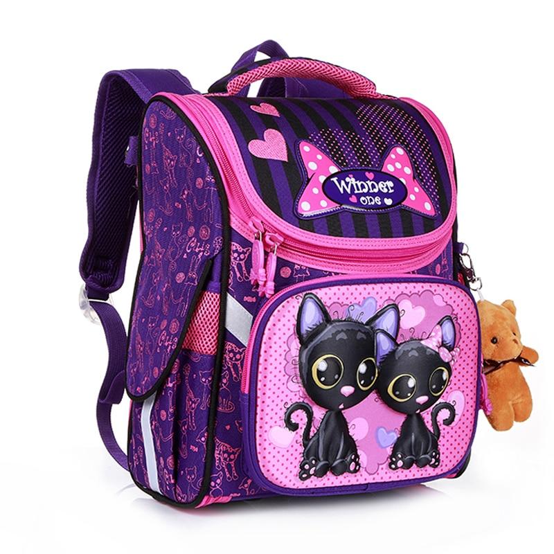 New Fashion Cartoon School Bags Backpack for Girls Boys Bear Cat Design Children Orthopedic Backpack Mochila Infantil Grade 1-5 1