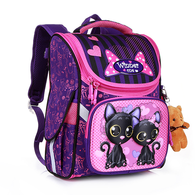 New Fashion Cartoon School Bags Backpack For Girls Boys Bear Cat Design Children Orthopedic Backpack Mochila Infantil Grade 1-5