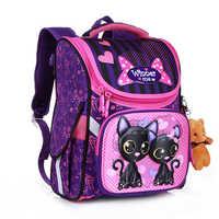 Nova moda dos desenhos animados sacos de escola mochila para meninas meninos urso gato design crianças ortopédico mochila infantil grau 1-5