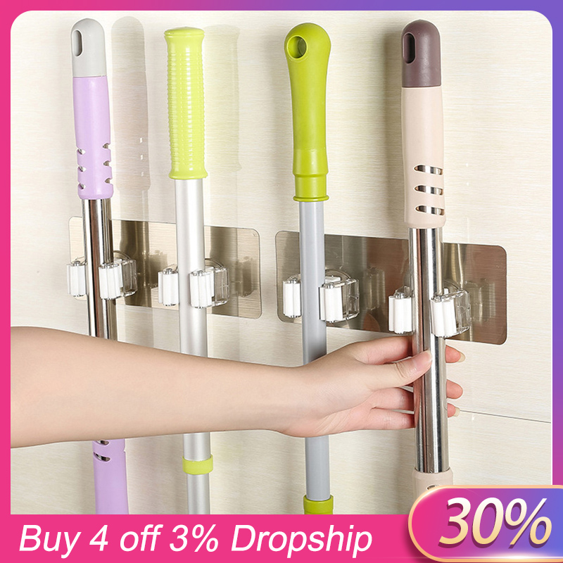 Wall Mounted Mop Organizer Holder Brush Broom Hanger Storage Rack Kitchen Tool Accessory Hanging Pipe Hooks Wall Housekeeper